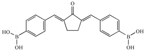 Figure 1: Pentagamaboronon-0 or 2,5-bis (4-dihydroxyboryl benzylidine) cyclopentanone structure.